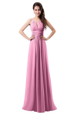 ColsBM Daisy Pink Simple Column Scoop Chiffon Ruching Bridesmaid Dresses