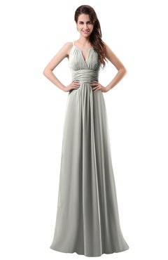 ColsBM Daisy Platinum Simple Column Scoop Chiffon Ruching Bridesmaid Dresses