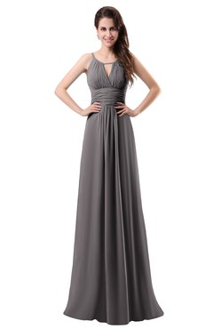ColsBM Daisy Ridge Grey Simple Column Scoop Chiffon Ruching Bridesmaid Dresses