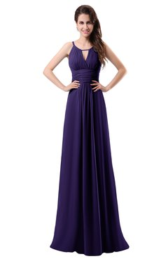 ColsBM Daisy Royal Purple Simple Column Scoop Chiffon Ruching Bridesmaid Dresses