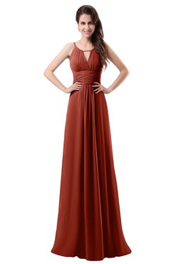 ColsBM Daisy Rust Simple Column Scoop Chiffon Ruching Bridesmaid Dresses