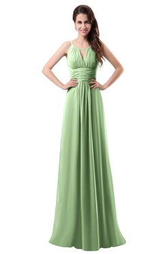 ColsBM Daisy Sage Green Simple Column Scoop Chiffon Ruching Bridesmaid Dresses