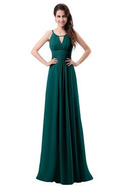 ColsBM Daisy Shaded Spruce Simple Column Scoop Chiffon Ruching Bridesmaid Dresses