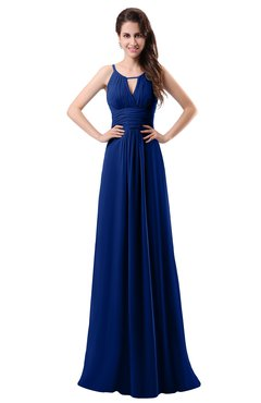 ColsBM Daisy Sodalite Blue Simple Column Scoop Chiffon Ruching Bridesmaid Dresses