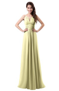 ColsBM Daisy Soft Yellow Simple Column Scoop Chiffon Ruching Bridesmaid Dresses