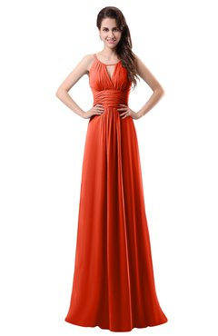 ColsBM Daisy Tangerine Tango Simple Column Scoop Chiffon Ruching Bridesmaid Dresses