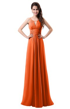 ColsBM Daisy Tangerine Simple Column Scoop Chiffon Ruching Bridesmaid Dresses