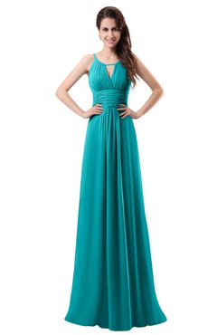 ColsBM Daisy Teal Simple Column Scoop Chiffon Ruching Bridesmaid Dresses
