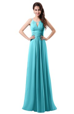 Colsbm Daisy Turquoise Simple Column Scoop Chiffon Ruching Bridesmaid Dresses