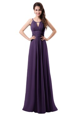 ColsBM Daisy Violet Simple Column Scoop Chiffon Ruching Bridesmaid Dresses