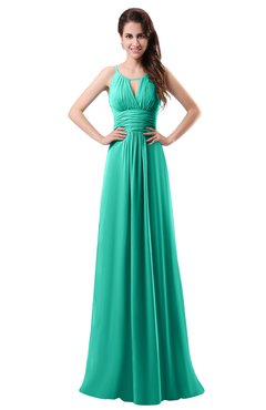 ColsBM Daisy Viridian Green Simple Column Scoop Chiffon Ruching Bridesmaid Dresses