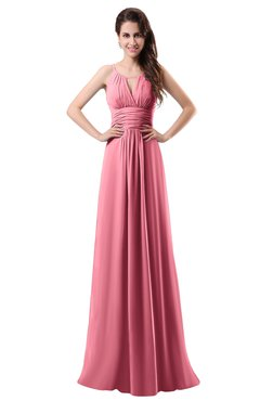 ColsBM Daisy Watermelon Simple Column Scoop Chiffon Ruching Bridesmaid Dresses