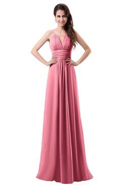 ColsBM Daisy Watermelon Simple Column Scoop Chiffon Ruching Bridesmaid Dresses
