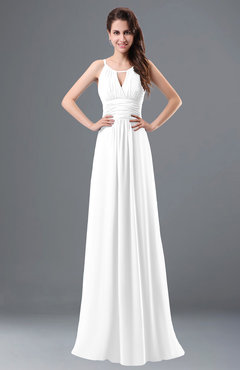ColsBM Daisy White Simple Column Scoop Chiffon Ruching Bridesmaid Dresses