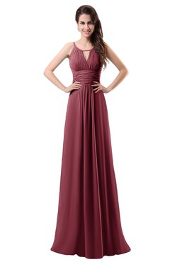 Colsbm Daisy Wine Simple Column Scoop Chiffon Ruching Bridesmaid Dresses