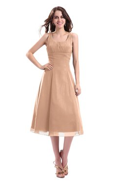 ColsBM Annabel Almost Apricot Simple A-line Chiffon Tea Length Pleated Cocktail Dresses