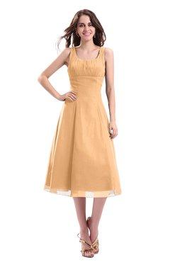 ColsBM Annabel Apricot Simple A-line Chiffon Tea Length Pleated Cocktail Dresses
