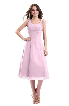 ColsBM Annabel Baby Pink Simple A-line Chiffon Tea Length Pleated Cocktail Dresses