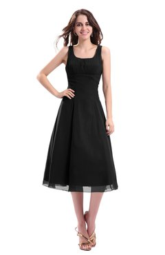ColsBM Annabel Black Simple A-line Chiffon Tea Length Pleated Cocktail Dresses