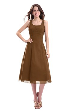 ColsBM Annabel Brown Simple A-line Chiffon Tea Length Pleated Cocktail Dresses