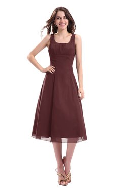 ColsBM Annabel Burgundy Simple A-line Chiffon Tea Length Pleated Cocktail Dresses