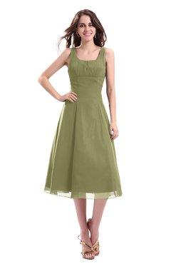 ColsBM Annabel Cedar Simple A-line Chiffon Tea Length Pleated Cocktail Dresses