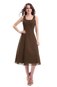 ColsBM Annabel Chocolate Brown Simple A-line Chiffon Tea Length Pleated Cocktail Dresses