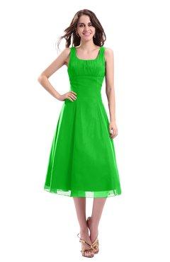 ColsBM Annabel Classic Green Simple A-line Chiffon Tea Length Pleated Cocktail Dresses
