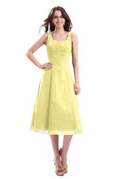 ColsBM Annabel Daffodil Simple A-line Chiffon Tea Length Pleated Cocktail Dresses