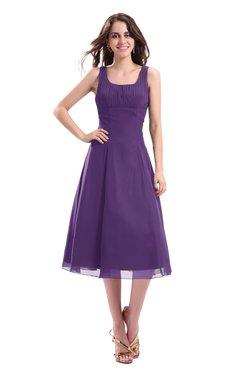 ColsBM Annabel Dark Purple Simple A-line Chiffon Tea Length Pleated Cocktail Dresses