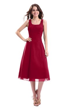 ColsBM Annabel Dark Red Simple A-line Chiffon Tea Length Pleated Cocktail Dresses