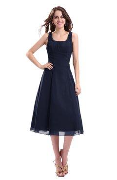 ColsBM Annabel Dark Sapphire Simple A-line Chiffon Tea Length Pleated Cocktail Dresses