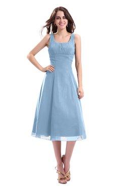 ColsBM Annabel Dusty Blue Simple A-line Chiffon Tea Length Pleated Cocktail Dresses