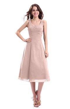 ColsBM Annabel Dusty Rose Simple A-line Chiffon Tea Length Pleated Cocktail Dresses