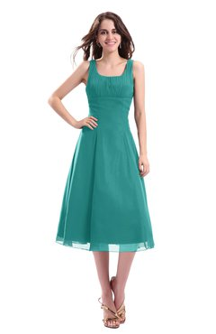 ColsBM Annabel Emerald Green Simple A-line Chiffon Tea Length Pleated Cocktail Dresses