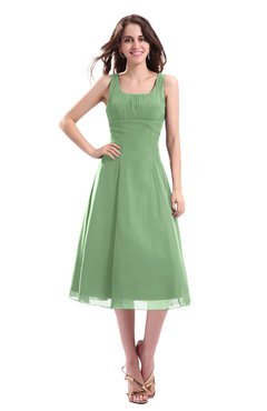 ColsBM Annabel Fair Green Simple A-line Chiffon Tea Length Pleated Cocktail Dresses