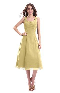 ColsBM Annabel Gold Simple A-line Chiffon Tea Length Pleated Cocktail Dresses