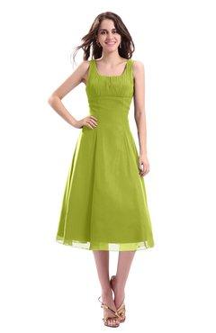 ColsBM Annabel Green Oasis Simple A-line Chiffon Tea Length Pleated Cocktail Dresses