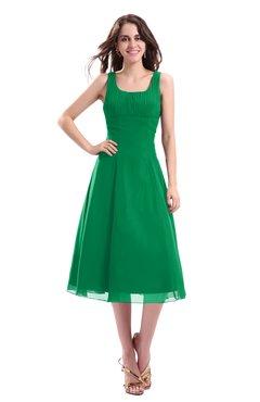 ColsBM Annabel Green Simple A-line Chiffon Tea Length Pleated Cocktail Dresses