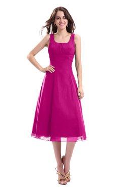 ColsBM Annabel Hot Pink Simple A-line Chiffon Tea Length Pleated Cocktail Dresses