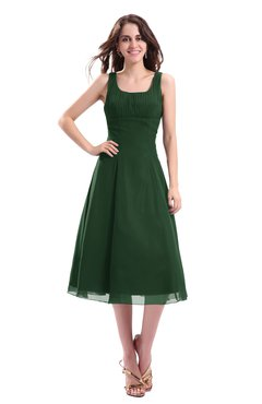 ColsBM Annabel Hunter Green Simple A-line Chiffon Tea Length Pleated Cocktail Dresses