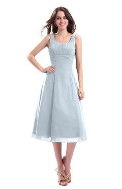 ColsBM Annabel Illusion Blue Simple A-line Chiffon Tea Length Pleated Cocktail Dresses