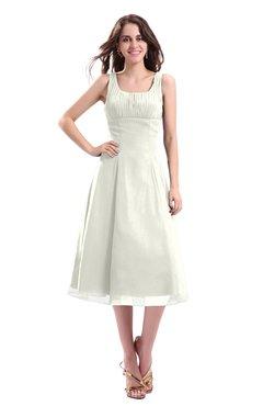 ColsBM Annabel Ivory Simple A-line Chiffon Tea Length Pleated Cocktail Dresses