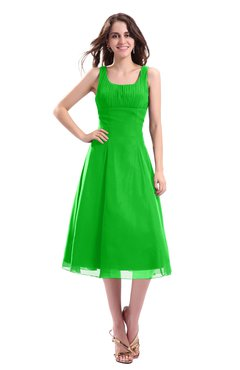 ColsBM Annabel Jasmine Green Simple A-line Chiffon Tea Length Pleated Cocktail Dresses