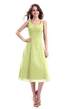 ColsBM Annabel Lime Green Simple A-line Chiffon Tea Length Pleated Cocktail Dresses