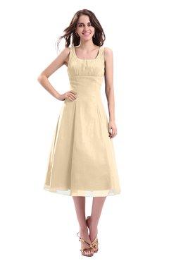 ColsBM Annabel Marzipan Simple A-line Chiffon Tea Length Pleated Cocktail Dresses