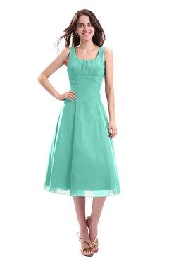 ColsBM Annabel Mint Green Simple A-line Chiffon Tea Length Pleated Cocktail Dresses