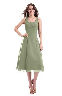 ColsBM Annabel Moss Green Simple A-line Chiffon Tea Length Pleated Cocktail Dresses