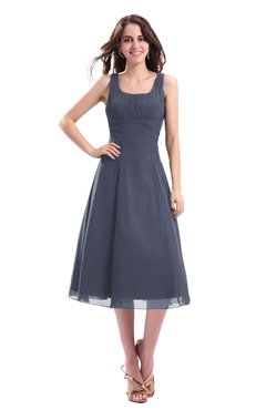 ColsBM Annabel Nightshadow Blue Simple A-line Chiffon Tea Length Pleated Cocktail Dresses