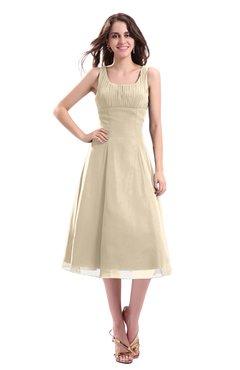 ColsBM Annabel Novelle Peach Simple A-line Chiffon Tea Length Pleated Cocktail Dresses